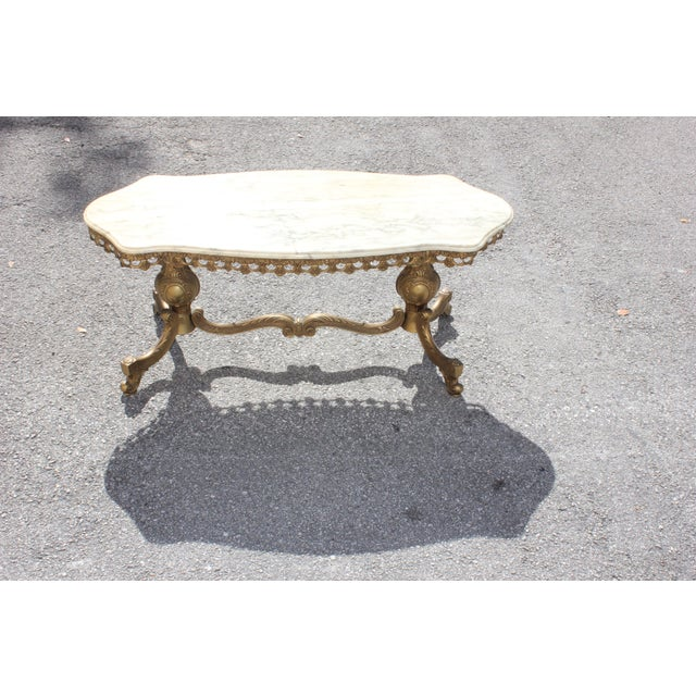 1940s French Maison Jansen Bronze Onyx Top Coffee Table For Sale In Miami - Image 6 of 13