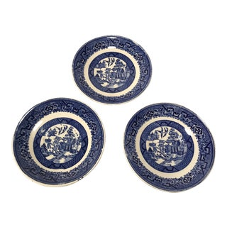 Vintage Blue Willow Small Plates Saucers Homer Laughlin - Set of 3 For Sale