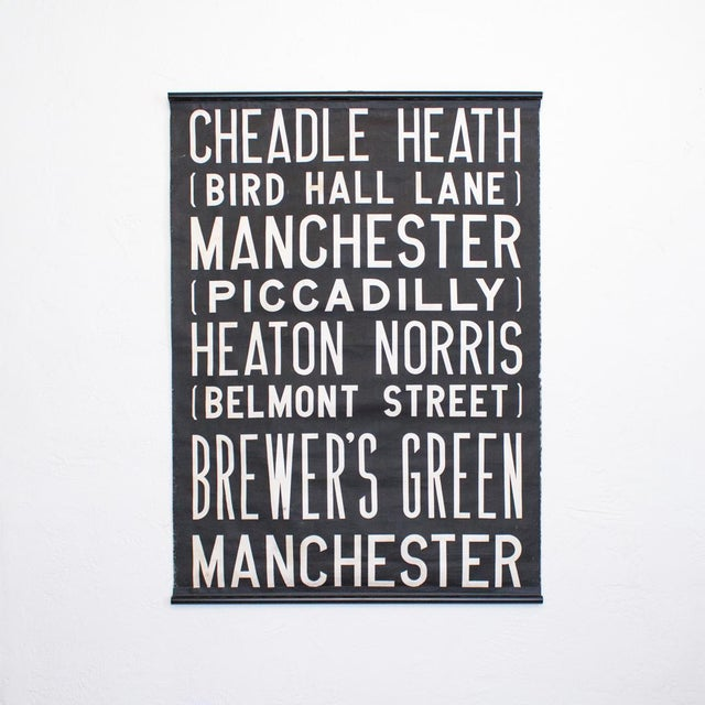 Uk Bus Route Sign on Linen   1960's British Transit Scroll   Industrial Graphic Print For Sale - Image 10 of 10