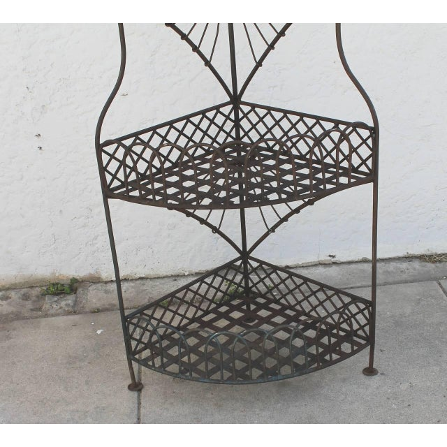 Early 20th Century Spanish Looking Iron Corner Three-Tier Shelf For Sale - Image 4 of 8