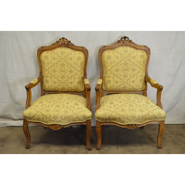Quality Pair of Custom Upholstered Solid Walnut Louis XV Style Arm Chairs - Image 2 of 10