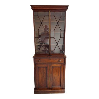 Georgian Stepback Antique Chippendale Bookcase For Sale