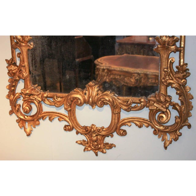 Rare Early 19th Century English Chippendale Gilt Mirror For Sale In Dallas - Image 6 of 10