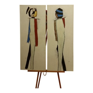 Modernist Japanese Harlequin Giclees - a Pair