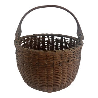 Antique New England Swing Handle Basket For Sale