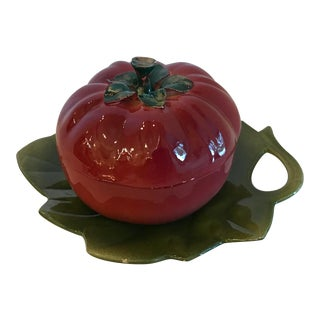 20th Century Italian Tomato Dish With Underplate -3 Pieces For Sale