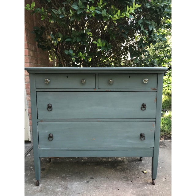 Antique Teal Green Milk Paint Finish Dresser For Sale In Austin - Image 6 of 9
