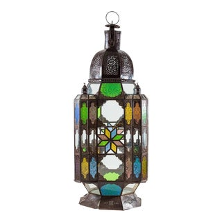 Primitive Moroccan Lantern with Colored Panes For Sale