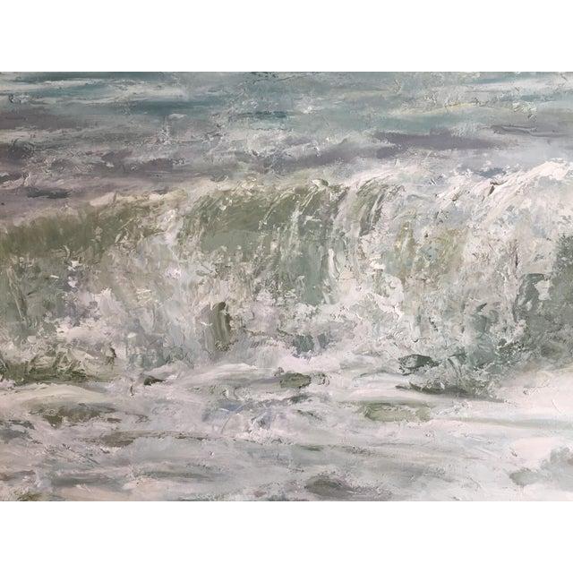 "Trish Beckham Beckham Oil Painting ""September Sea"", Large Blue Green Seascape For Sale - Image 4 of 7"