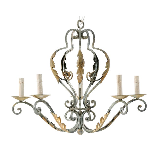 French Five-Light Painted Iron Chandelier Featuring Lovely Acanthus Leaf Motifs For Sale