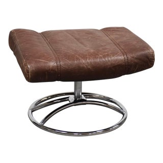 1970s Vintage Ekornes Brown Leather and Chrome Ottoman For Sale