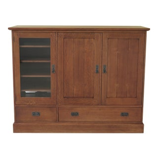 Stickley Mission Oak Arts & Crafts Style Media Cabinet For Sale