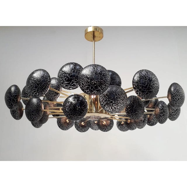 Italian Crackled Globes Chandelier by Fabio Ltd For Sale - Image 3 of 12
