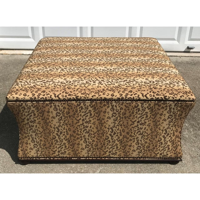 Textile Antique Style Designer Ottoman Leopard Print Upholstery Footstool For Sale - Image 7 of 9