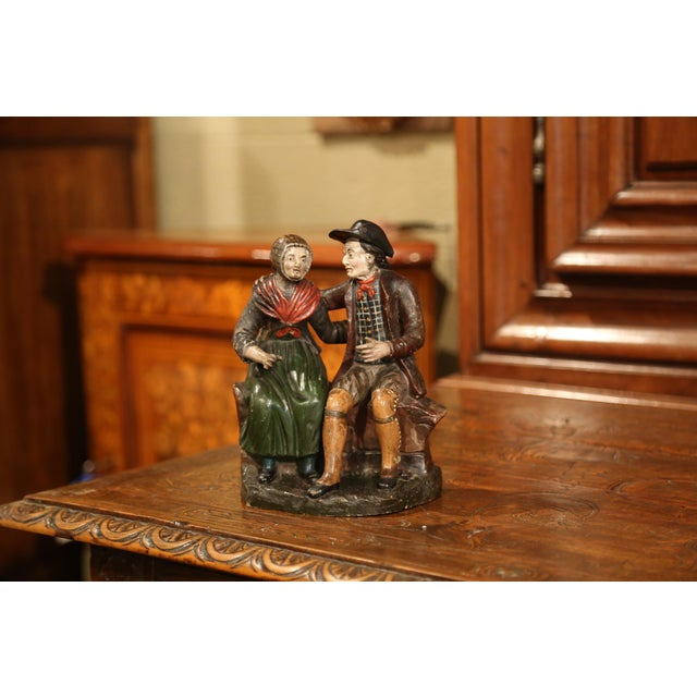 19th Century French Hand-Painted Ceramic Sculpture of Old Couple For Sale - Image 4 of 9