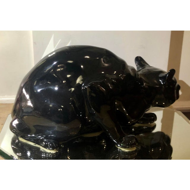 Rare Antique Wiener KunstKeramische Werkstatte Austria Ceramic Black Cat w Glass Eyes