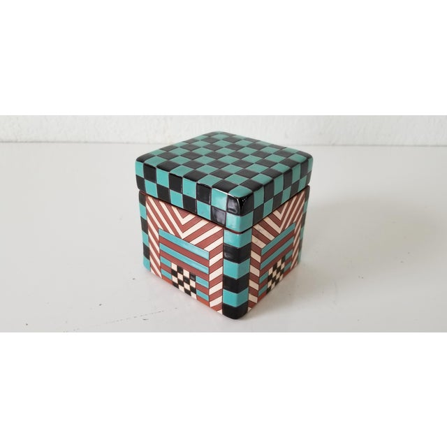 Postmodern Postmodern Artistic Stacking Decorative Ceramic Boxes - Set of 4 For Sale - Image 3 of 9