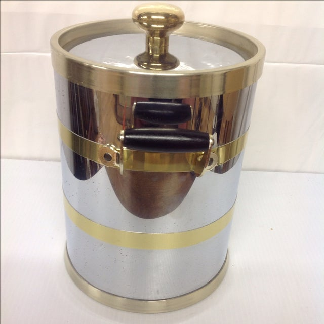 Mid-Century Chrome & Brass Ice Bucket For Sale - Image 4 of 6