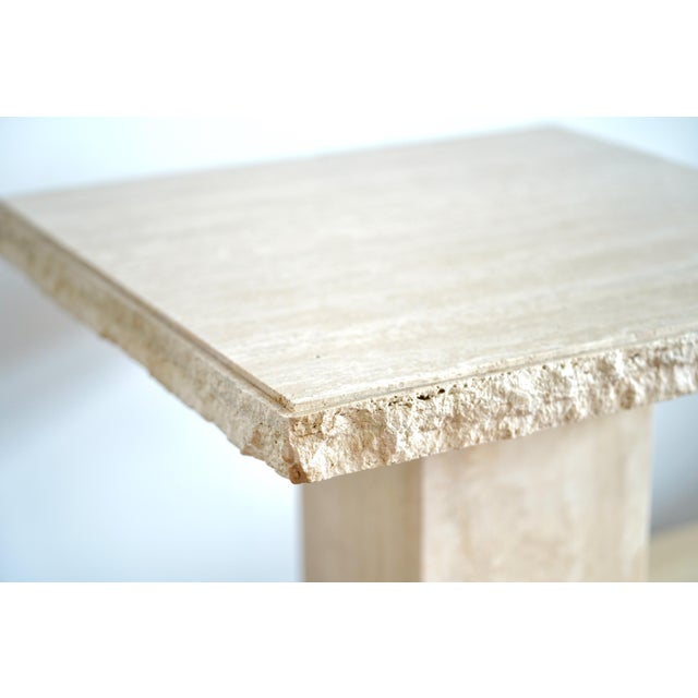 Italian 1970s Italian Maurice Villency Travertine Marble Side Table For Sale - Image 3 of 6
