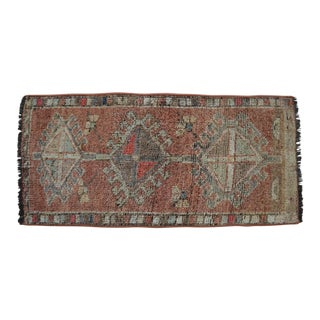 Distressed Low Pile Kurdish Small Rug Yastik Rug Petite Medallion Rug - 1'7'' X 3'2'' For Sale