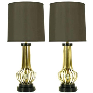 Pair of Rembrandt Brass Open Rib Table Lamps With Crystal Ball Centres For Sale