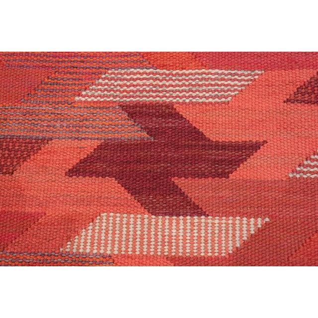Mid 20th Century Vintage Marta Maas Scandinavian Geometric Rug by Barbro Nilsson - 6′3″ × 8′2″ For Sale - Image 5 of 11