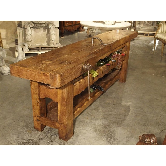 """2000s Antique """"Bourgogne"""" French Wine Carrier Converted From a Workbench For Sale - Image 5 of 13"""