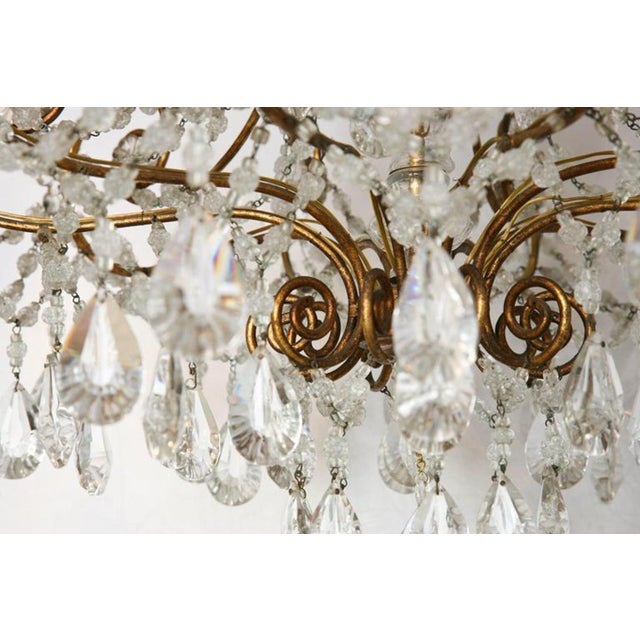 Metal Unusual Ten-Light Gilded Iron Italian Chandelier, Early 20th Century For Sale - Image 7 of 10