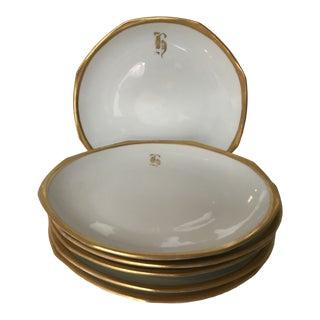 1910s Art Nouveau Mz Altrohlau Octagonal Gold Rimme Porcelain Plates - Set of 6