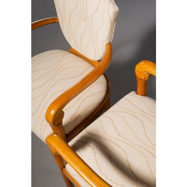 Wood Pair French Bridge Chairs With Beech Frames and New Upholstery For Sale - Image 7 of 10
