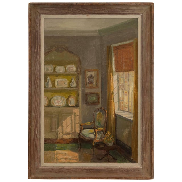 Framed Oil Painting of an Interior For Sale - Image 11 of 11