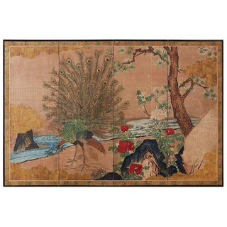 18th Century Japanese Peacock Screen Kano School For Sale