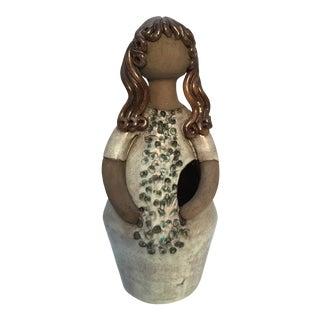 Mid Century Swedish Elbogen Pottery Girl Figurine Flower Vase For Sale