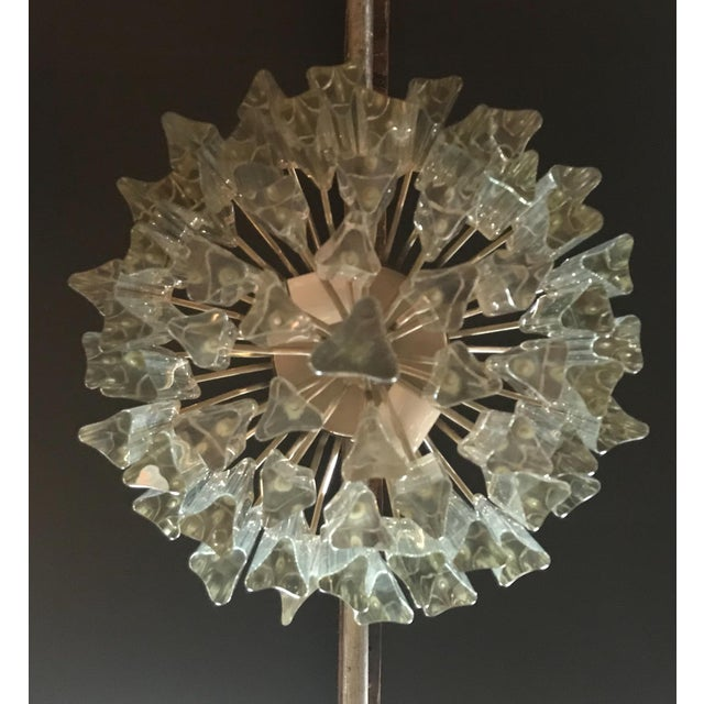 Silver 1960s Mid Century Modern Venini Murano Glass Prism Chandelier For Sale - Image 8 of 9