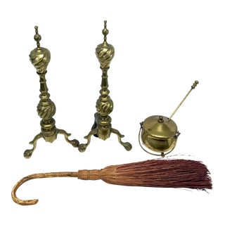 Brass Andirons & Fireplace Accessories For Sale