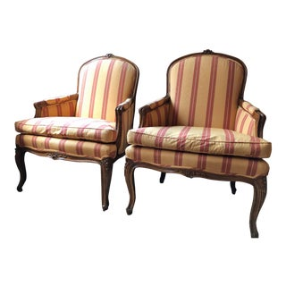 Louis XVI Upholstered Bergère Armchairs - A Pair For Sale