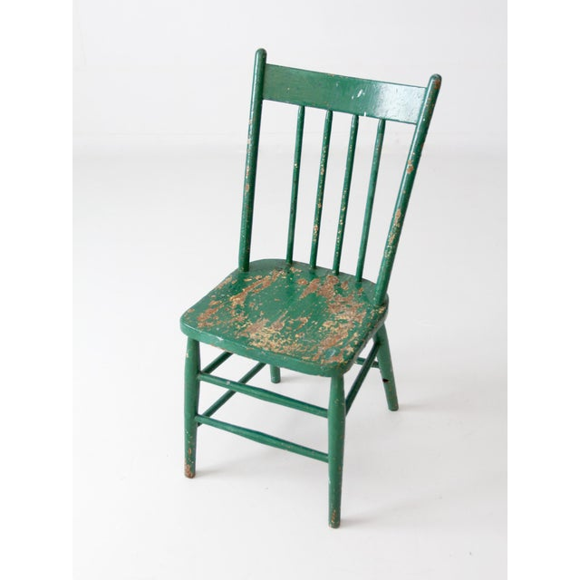 Antique Green Wood Spindle Back Chair - Image 3 of 6 - Antique Green Wood Spindle Back Chair Chairish