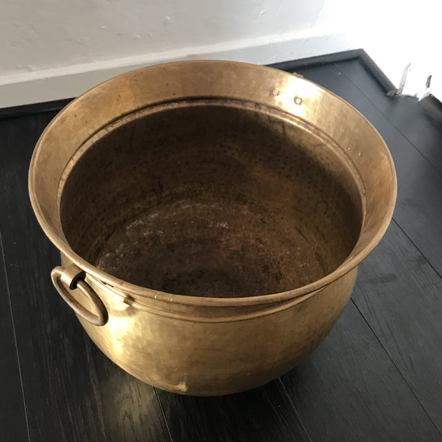 Brass Vintage Solid Brass Planter For Sale - Image 7 of 8