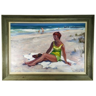 1968 Vintage Emile Gruppe Woman on a Beach Painting For Sale