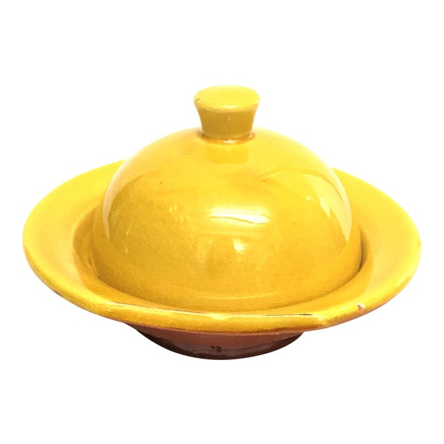 Hand Painted Yellow Small Moroccan Ceramic Serving Dish - Image 1 of 4