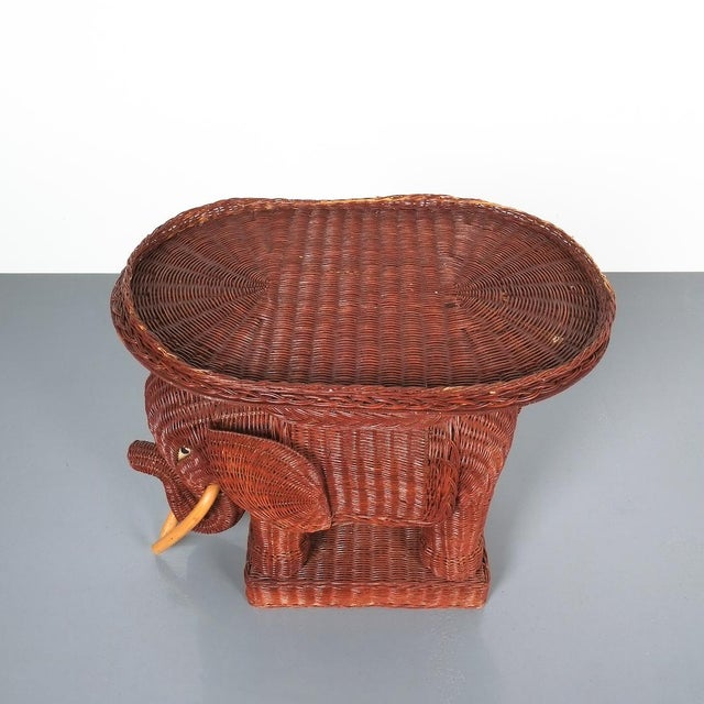 Brown Midcentury Wicker Elephant Side Table or Flower Pot Stand For Sale - Image 8 of 9