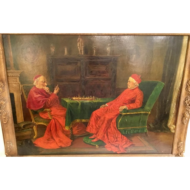 This beautifully executed oil on board painting captures two Cardinals playing chess. The rich jewel tones of red and...