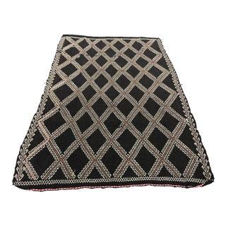 "Turkish Handmade Decorative Black Color Antique Kilim Rug 5'3"" x 8'8"" For Sale"