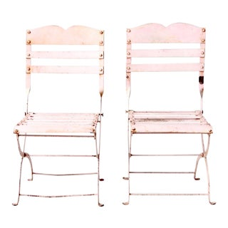 Antique Children's Pink Metal Garden Chairs For Sale