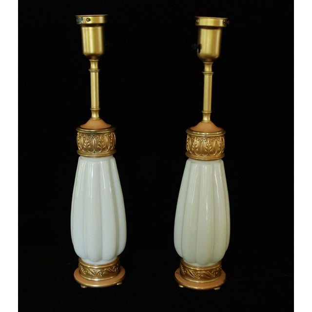 Rembrandt Milk Glass Torchiere Lamps - A Pair For Sale - Image 5 of 8