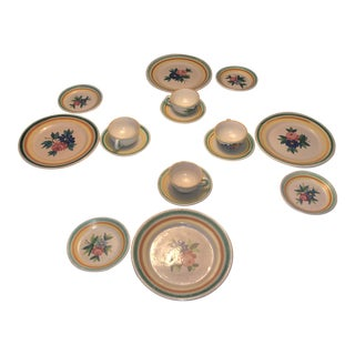 Vintage 1920s Italy Art Ceramic Pottery Plates and Cup Set W/ Fish Mark - 16 Pieces For Sale