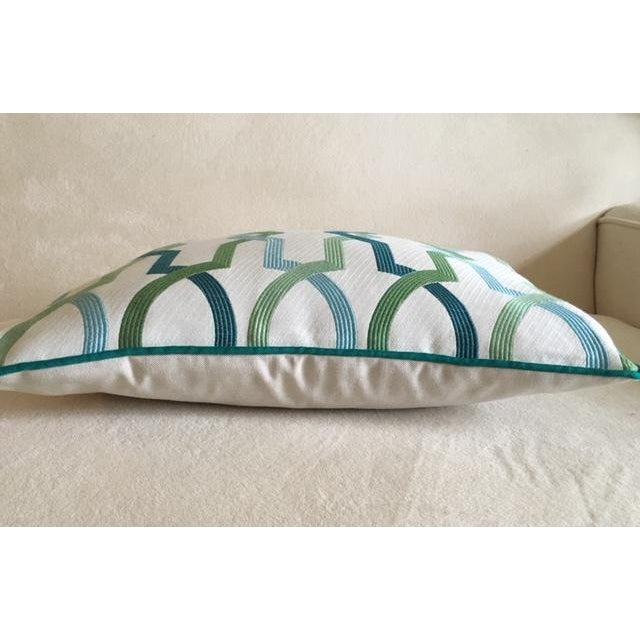 Custom Turquoise Mod Geometric Kidney Pillow - Image 4 of 6