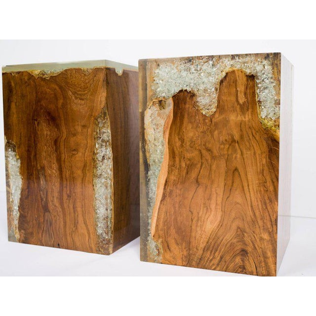 2010s Pair of Organic Modern Bleached Teak Wood and Resin Side Tables For Sale - Image 5 of 13