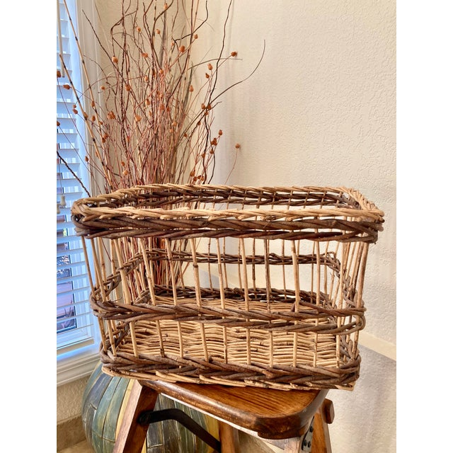 1990s Crisscross Open Weave Handwoven Rattan & Willow Basket by Three Hands - Circa 1990 For Sale - Image 5 of 13