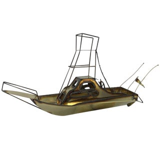 1970s C. Jere Style Brass and Copper Sailboat For Sale